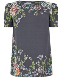 Oasis - Grey 'adria' Placement T-shirt - Lyst