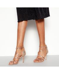 dbbfed40ea1 Faith Daft Pink Suede Ghillie Tie Up Heeled Sandals in Pink - Lyst