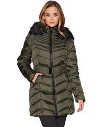 Quiz - Khaki Chevron 3/4 Belted Hood Jacket - Lyst