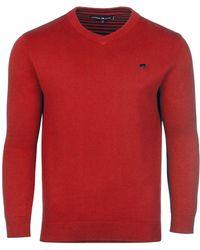 Raging Bull - Red V-neck Cashmere Mix Jumper - Lyst