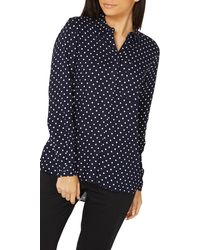Dorothy Perkins - Navy Spotted Shirt - Lyst