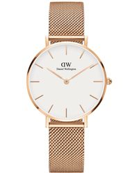Daniel Wellington - Classic Petite Melrose With White Face And Rose Gold Mesh Strap And Case Watch - Lyst