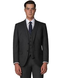 Racing Green - Charcoal Pick And Pick Tailored Fit 2 Button Suit Jacket - Lyst