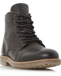 Dune - Black 'corporal' Crepe Sole Lace Up Worker Boots - Lyst