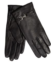 J By Jasper Conran - Black Faux Fur Lined Leather Gloves - Lyst