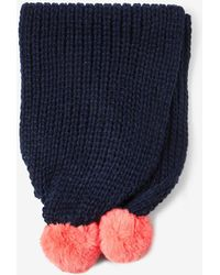Dorothy Perkins - Navy And Coral Ribbed Pom Pom Scarf - Lyst