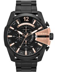 DIESEL - Men's 'mega Chief' Black Dial & Bracelet Watch Dz4309 - Lyst