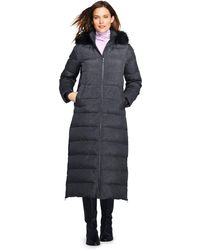 705909cd708 Lands  End - Grey Petite Fur Hooded Maxi Down Coat - Lyst