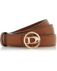 Dune - Tan 'nanciee' Branded Buckle Belt - Lyst