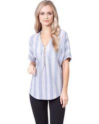 Izabel London - Blue Stripe Zip Top - Lyst