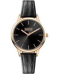 Barbour - Ladies Black 'emberton' Leather Strap Watch - Lyst