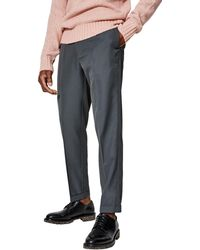 Burton - Anderson Grey Tapered Fit Twill Trousers - Lyst