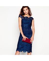 Lipsy - Navy Lace 'jourdanne' Cap Sleeve Pencil Dress - Lyst