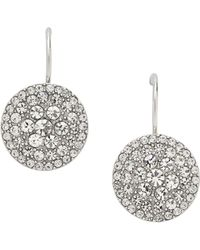 Fossil - Silver Pave Disc Earrings - Lyst