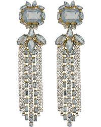 Matthew Williamson - Grey Diamante Fringed Drop Earrings - Lyst
