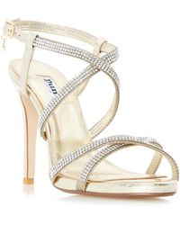 9cc7c344a4e300 Dune - Gold  mansionn  Strappy Jewelled High Heel Sandals - Lyst