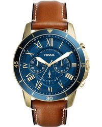 Fossil - Men's Brown Analogue Leather Strap Watch Fs5268 - Lyst