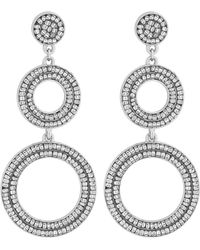 Matthew Williamson - Silver Plated Silver 3 Ring Bugle Bead Drop Earrings - Lyst