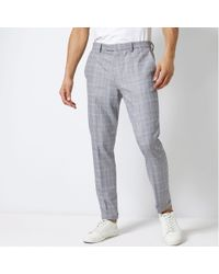 Burton - Blue Chambray Tapered Fit Check Trousers - Lyst