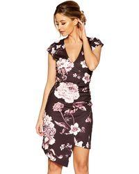 Quiz - Black Floral Print Wrap Front Asymetric Dress - Lyst