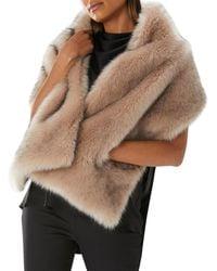 Coast - Cream 'estelle' Pocket Faux Fur Scarf - Lyst