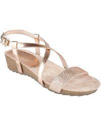 Lotus - Rose Diamante 'cuba' Mid Wedge Heel Peep Toe Sandals - Lyst