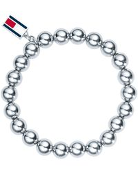 Tommy Hilfiger - Ladies Stainless Steel Beaded Charm Bracelet2700501 - Lyst