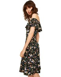Oasis - Multicoloured Black Prairie Bardot Dress - Lyst