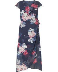 5be9e854f164e4 Dorothy Perkins - Curve Navy Floral Print Chiffon Maxi Dress - Lyst