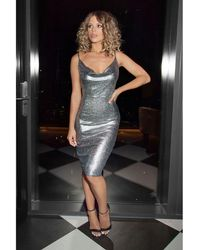 a9faa5604867 Missguided Foil Plunge Shift Dress Silver in White - Lyst