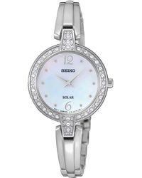 Seiko - Womens Solar Crystal Silver Bracelet Watch Sup287p9 - Lyst