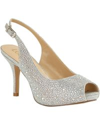 Lotus - Silver Diamante 'astro' High Stiletto Heel Slingbacks - Lyst