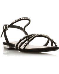 3c2a53626ce Steve Madden Zippy Diamante Strap Flat Sandals in Black - Lyst