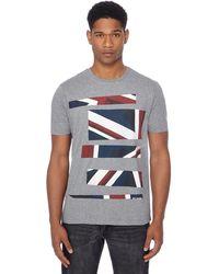 Ben Sherman - Big And Tall Grey Union Jack Stripe Print T-shirt - Lyst