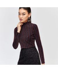 Warehouse - Fine Metallic Stripe Polo Top - Lyst