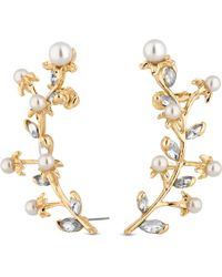 Red Herring - Gold Crystal And Pearl Vine Leaf Ear Climber Set - Lyst