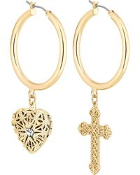 Red Herring - Gold Crystal Charm Mismatched Hoop Earrings - Lyst