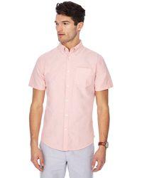 Racing Green - Dark Peach Short Sleeve Tailored Fit Oxford Shirt - Lyst