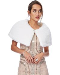 Jenny Packham - White Faux Fur Jewel Embellished Cape - Lyst