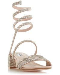 630394d3e1b Dune - Light Pink Suede  micka  Block Heel Ankle Strap Sandals - Lyst