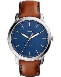Fossil - Men's Brown Leather Strap Watch - Lyst