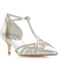 Dune - Silver Leather 'cahoot' Kitten Heel Court Shoes - Lyst