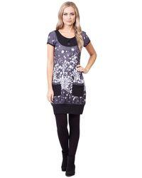Izabel London - Grey Floral Print Tunic Dress - Lyst