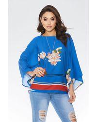 Quiz - Royal Blue And Orange Floral Necklace Top - Lyst