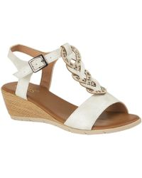 Lotus - White 'orta' Mid Wedge Heel T-bar Sandals - Lyst