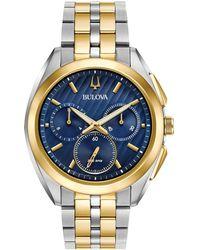 Bulova - Men's Two Tone Gold Chronograph Curv Bracelet Watch 98a159 - Lyst