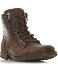 Dune - Brown 'charing' Double Zip Worker Boots - Lyst