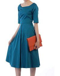 Jolie Moi - Turquoise Half Sleeve Swing Dress - Lyst