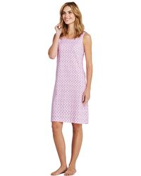 Lands' End - Pink Womens Supima Sleevesless Patterned Nightdress - Lyst