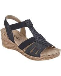 900b59d87a Lotus - Black 'saltaran' Mid Wedge Heel T-bar Sandals - Lyst